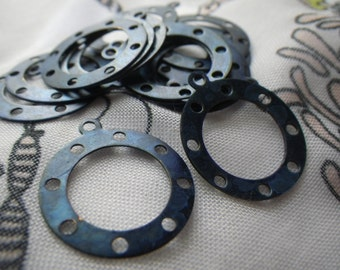 Pretty Dark Blue Tinted Brass Rings with Loop 20mm 6 Pcs