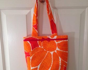 SMALL TOTE BAG Retro 60s Vintage Orange Red Flower Fabric Purse Handbag Sixties