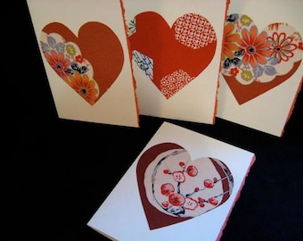 Handmade silk hearts Japanese Christmas greeting cards - set of 5