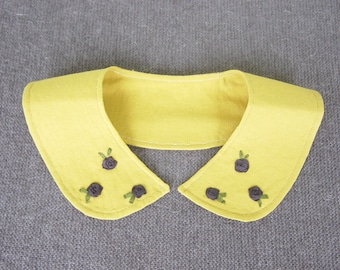 Peter Pan style collar necklace/ mustard, gold linen (with black silk ribbon embroidered roses)/ cottage goth/ make it your own