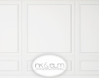 "White Wall Backdrop 6ft x 6ft, Vinyl Backdrop White Wainscot Chair Rail Wall Photo Background, Newborn Prop, Photo Booth Prop, ""Chic"""