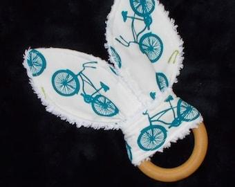 Blue Bicycles Rabbit Ears Wooden Teething Ring