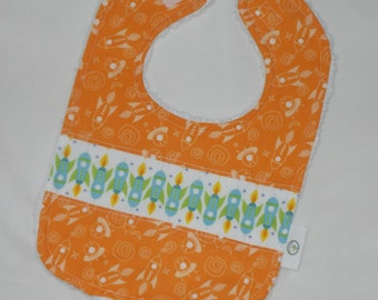 Orange Outer Space and Rockets Chenille Boutique Bib