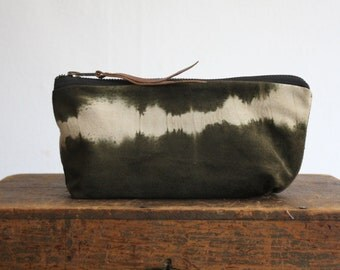 The Heidi Pouch Small ///// Suede Tie Dye Pouch. Boho Clutch. Luxury Cosmetic Bag. Organizer Pouch. Army Green. Charcoal Tie Dye.