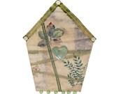 Small Art Quilt, Wall Hanging, Fiber Art, Fabric Birdhouse, Green Floral