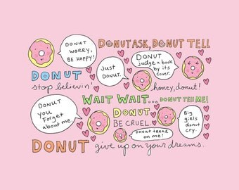 PRINT 8 by 10 inches Witty Donut Art Print