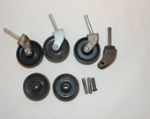 3 vintage stem casters feet legs table rolling wheels  furniture supplies with extra caster supplies