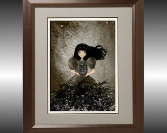 Dark Goth Girl with Dragonflies Art Print ---I m Not Letting Go -- 8x10