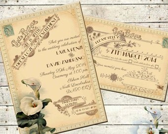 Lavinia - Vintage Victorian Calla Lily and Antique Typography - Printable DIY Wedding Invitation Suite - Customized Wedding Invitation