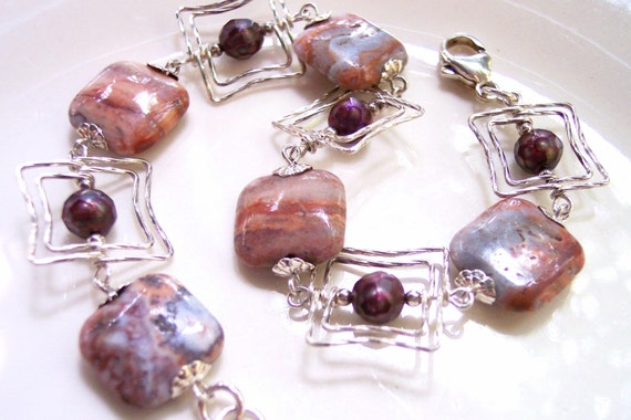 Jasper Bracelet, Southwestern Jewelry, Serenity Blue Jewelry, Marsala Pearl Bracelet, Denim Blue Jeans, Red Rock, Dusty Cedar