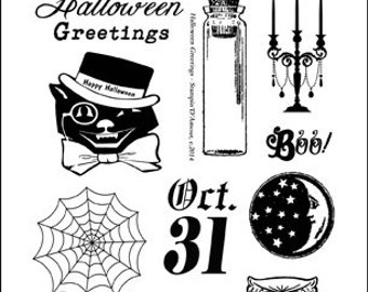 Vintage Halloween Theme 6x4 Clear Stamp Set 12 pc