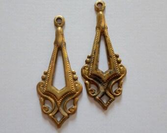 Vintage Oxidized Brass Earring Dangles
