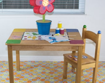 """Splat Mat/Tablecloth """"Periwinkle Lattice and Roses"""" - Laminated Cotton BPA  & PVC Free - Choose Your Size below!"""