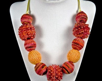 Rose Pink and Peach Knitted Bead Necklace