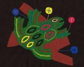 SALE! - Superbly Hand Sewn Mola Tree Frog -  Kuna Indian Applique
