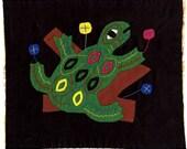 SALE! - 90's Primitive Tree Frog Mola - Hand Sewn Kuna Indian Applique