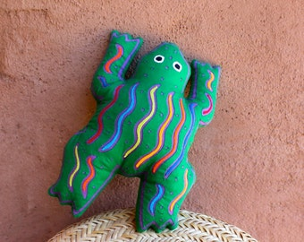 Fabulous Mola Frog Pillow - SALE - Whimsical Kuna Indian Reverse Applique