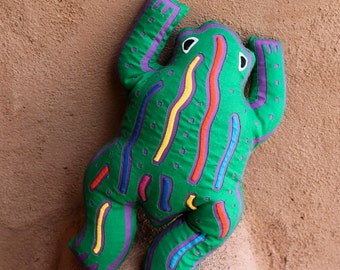 Fabulous Stuffed Mola Frog Pillow - SALE - Kuna Indian Reverse Applique