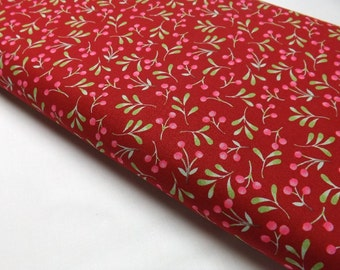 Berry Red Fabric, Quilting Fabric, Sewing Fabric, Berries on Fabric, Whimsical Berries, Quilters Fabric, Red Fabric, Sewing Cotton, Quilt