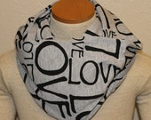 Grey and Black Love Jersey Knit Infinity Scarf
