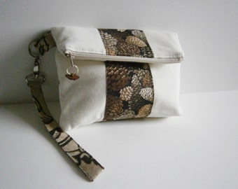 Pine Cone Foldover Wristlet Clutch Canvas and Cotton