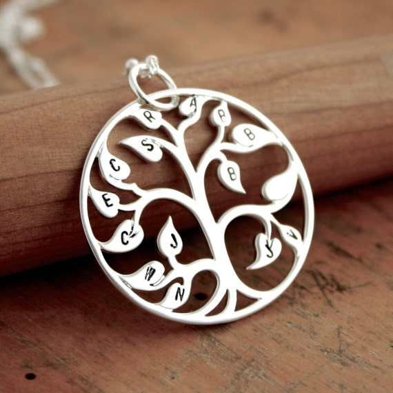 Sterling silver family tree necklace - Blank or stamped initial family tree of life. Personalized Gift for Mom.