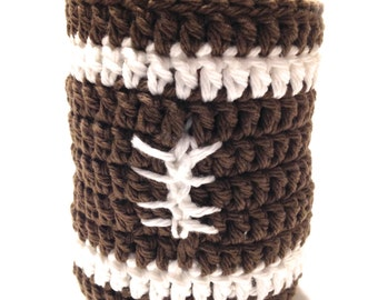 Football Crocheted Can Cover-Warm Brown