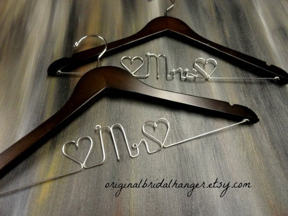 Mr and mrs hangers wedding dress hangers bride coat hanger by for Mrs hangers wedding dress
