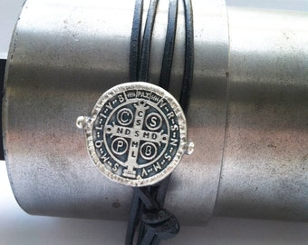 St. Benedict Wrap Bracelet Black Leather and Sterling Silver