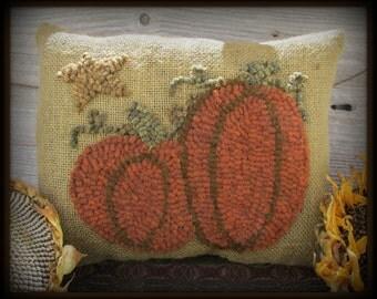 Burlap Pillow Hooked Pumpkins E-Pattern Instant download