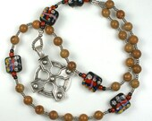 Handmade Anglican Rosary with Lampwork Glass Cruciform Beads