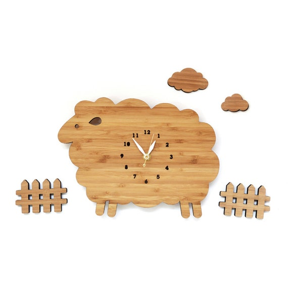 Sheep Wall Clock Set With Clouds And Fences