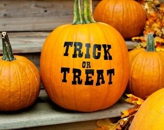 "Halloween Pumpkin Decals, ""Trick or Treat"", jack o lantern decals, trick or treat, pumpkin stickers, fall pumpkin decor, front porch decor"