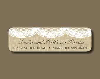 Burlap and lace return address labels, self-adhesive address stickers, shabby chic return address labels, burlap and lace stickers