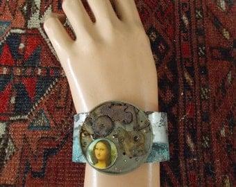 Cuff Bracelet, Post-Apocalyptic Steampunk Cuff , Steampunk Jewelry, Mona Lisa Bracelet, Mona Lisa jewelry, Mona Lisa Cuff, Gothic