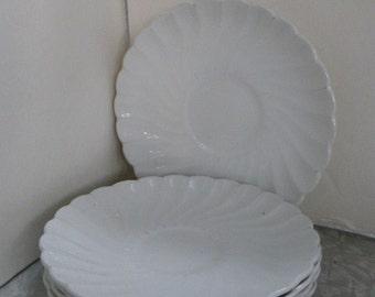 5 Johnson Bros England White  Ironstone Swirl Saucer Plates