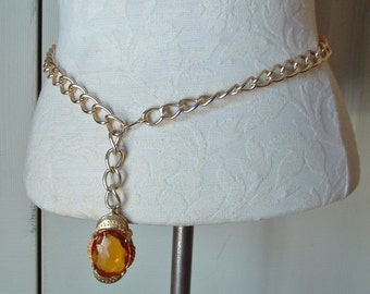 Chain pendant belt chunky gold tone chain with large faux gemstone pendant adjustable vintage  for men or women