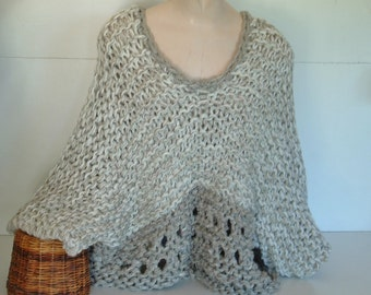 Chunky knit crop top slouchy sweater short sleeved  pullover ultra wide with bottom openwork for medium large extra large plus women