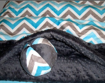 "Snuggle Sack - Topaz Minky Chevron -  23"" x 26"" - Pet Bed  -  Includes Embroidered Personalization"
