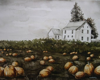 Burton Pumpkin Farm  - Watercolor print-