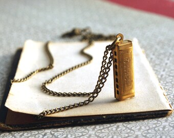 Harmonica Necklace, Musical Charm Necklace, Brass Harmonica Charm
