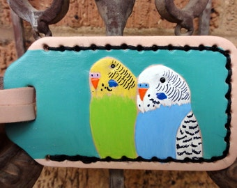 Luggage Tag with Parakeets