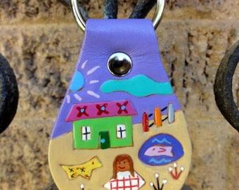 Key Fob with Village Design