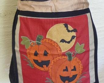 Halloween Skirt, Mini Skirt, Unique, Handmade Skirt, Pumpkin Skirt, Jack O Lanterns, Bats, Full Moon, Spooky,Drawstring Waist,Trick or Treat