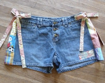 Patchwork shorts, handmade, unique clothing, adjustable waist, side ties, vintage newer fabric, recycled shorts, colorful patchwork