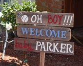 Welcome Home Baby Yard Sign Baseball Baby Shower Sign Decorations Its a Boy Sign Its A Girl Sign Baby Maternity Sign Wooden Signs Painted