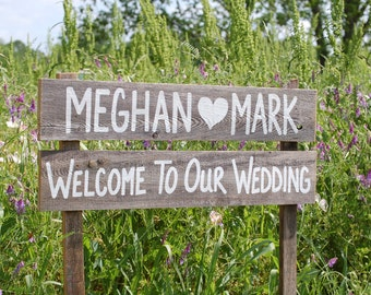 Welcome to our Wedding Sign Barn wood Signs Country Wedding Decorations Hand Painted Wedding Signs Trueconnection Love Heart Names Large