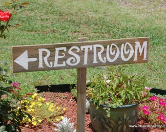 Restroom Sign Rest Room Sign Restrooms Rustic Signs El Bano Bathroom Sign Country Hand Painted Reclaimed Wood. Arrow Signs Wedding Barnwood
