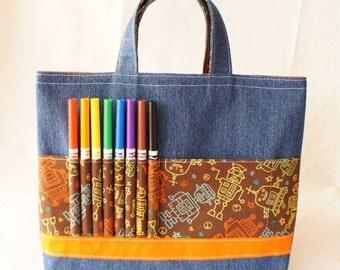 Crayon Bag Crayon Tote READY to SHIP ARTOTE in Mr. Roboto Clearance