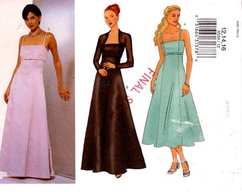 Evening dress and shrug sewing pattern Bridesmaid Wedding Bride pattern Butterick 6534 Sz 6 to 10 or 12 to 16 UNCUT